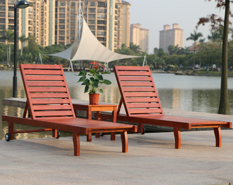 Rattan Yixuan Outdoor Wood Deck Chair Recliner Lounge swimming pool deck  lounge chairs