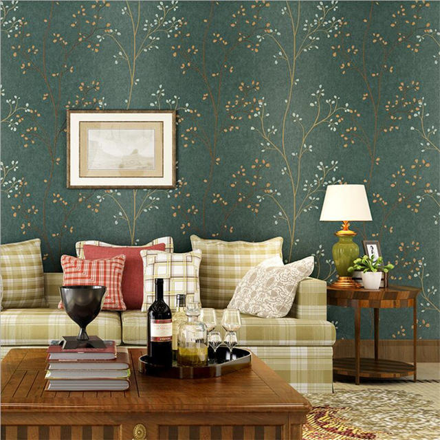 Beibehang American Retro Dark Green Leaf Wallpaper Bedroom Living Room TV  Wall Background Wall Decorative House 3d Wallpaper