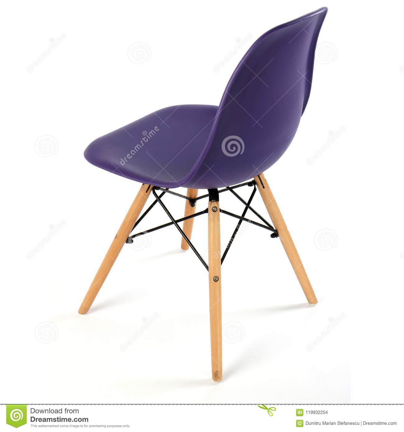 Dark violet color chair white wooden legs. Plastic chair cut out. Series of  furniture.