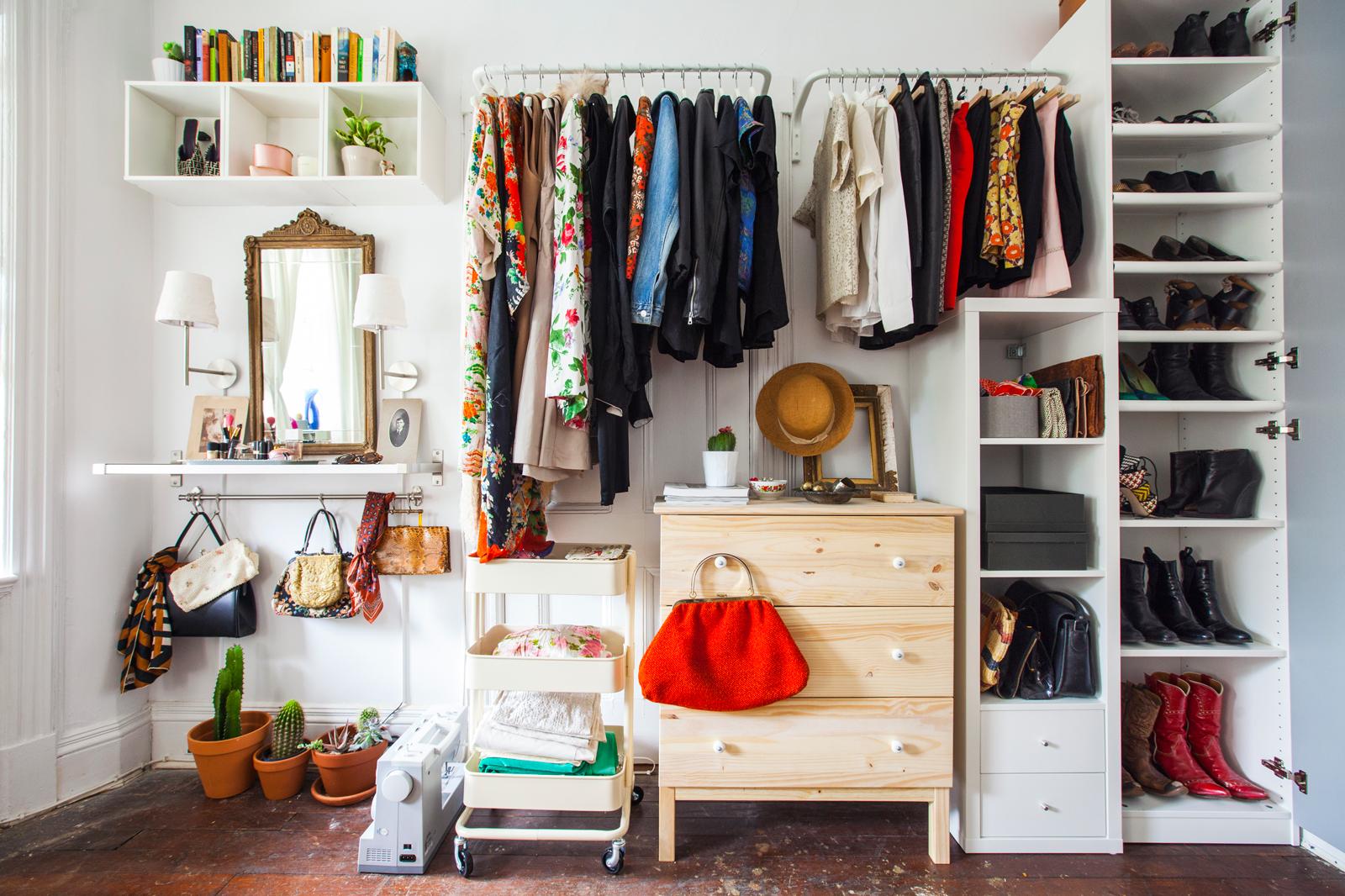 A DIY closet made with IKEA hacks.