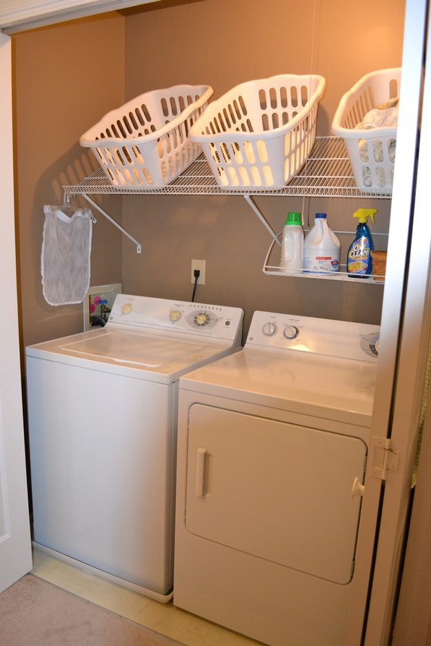 Slanted Shelf   Brilliant DIY Laundry Room Organization Ideas and Tips   laundry  room organizers and