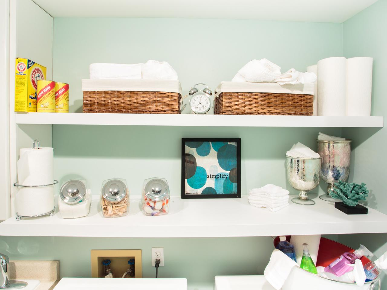 Laundry Room Shelves With Baskets