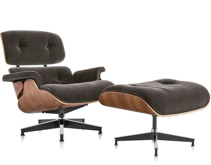 Eames® Lounge Chair & Ottoman In Mohair Supreme - hivemodern.com