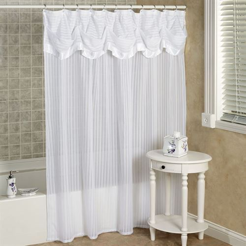 Nimbus Stripe Shower Curtain with Attached Valance in 2018