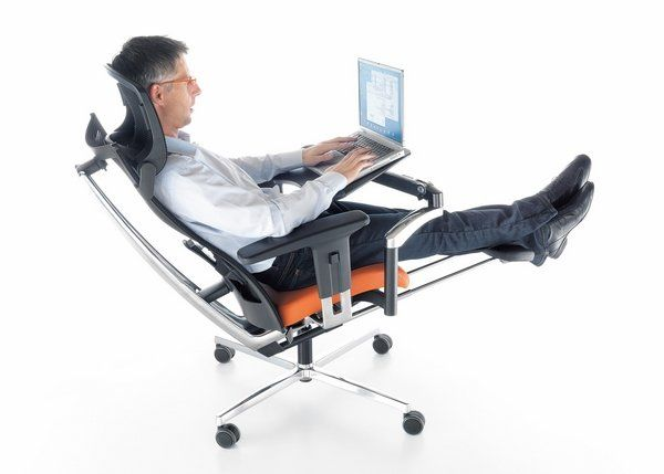 modern office ergonomic chair with headrest and footrest home office