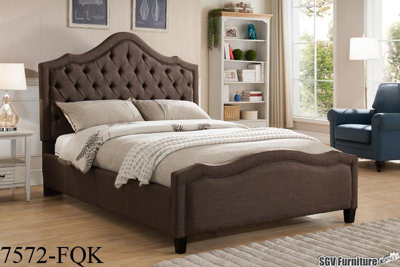 Queen Size Bed Frame w/ Linen Fabric Headboard & Footboard