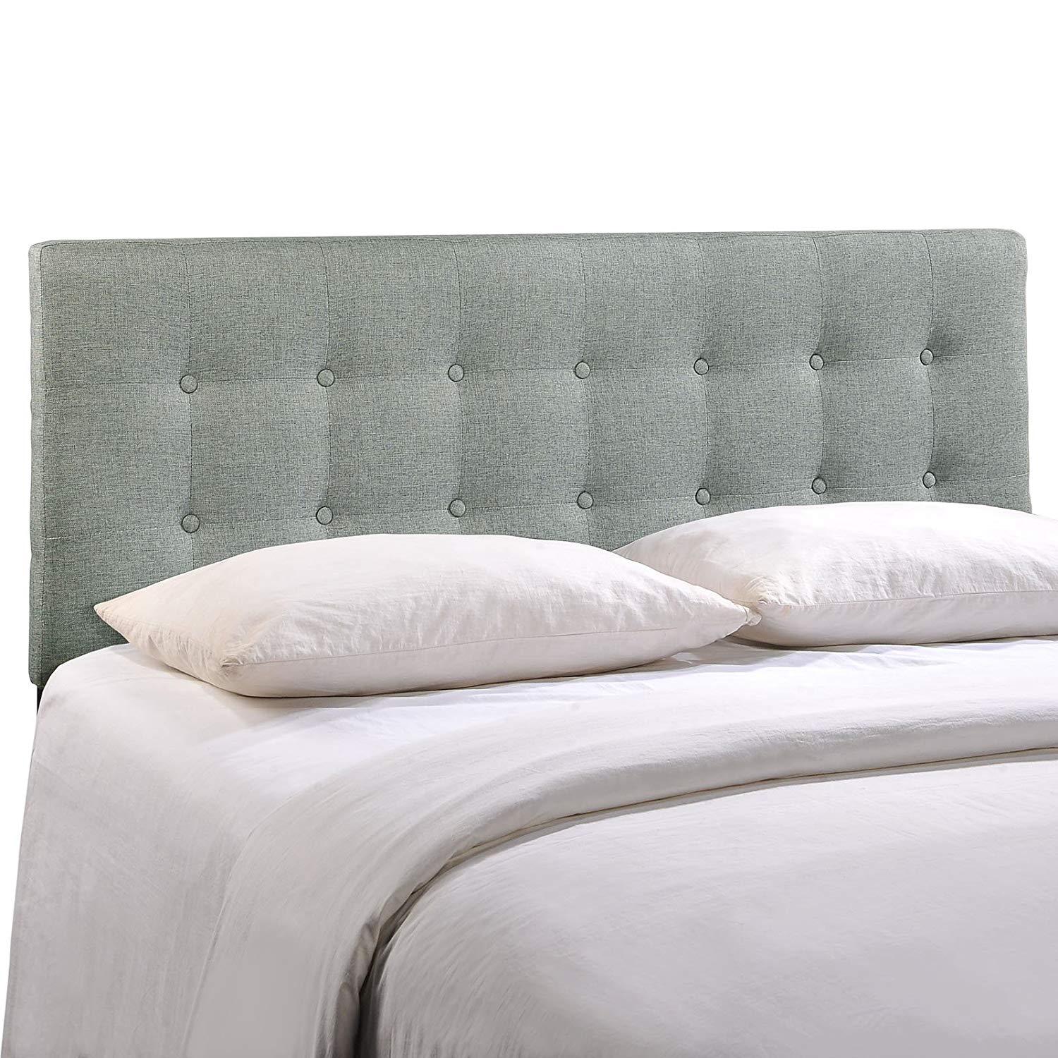 Traveller Location - Modway MOD-5170-GRY Emily Upholstered Tufted Button Fabric  Queen Headboard Size in Gray -