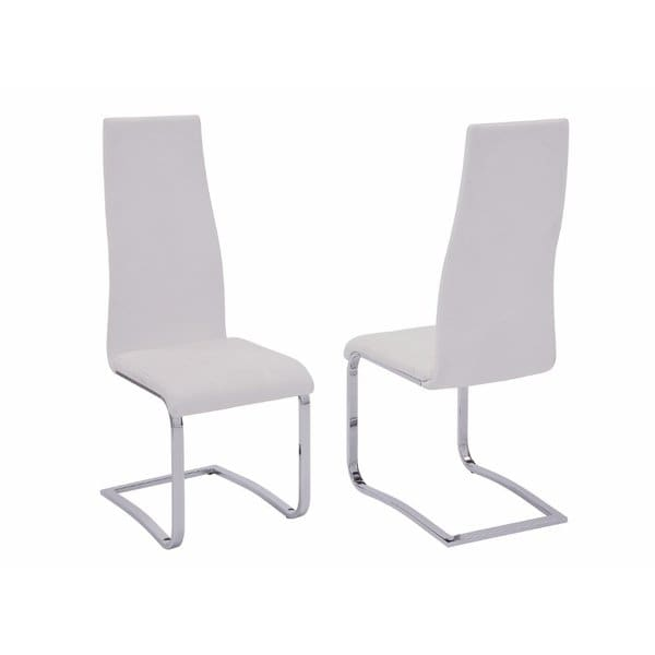 Shop Stylish White Faux Leather Dining Chair with Chrome Legs, Set