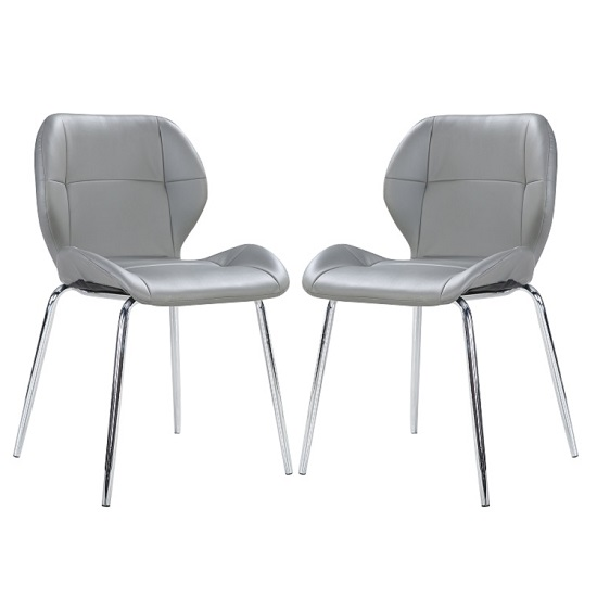 Darcy Dining Chair In Grey Faux Leather in A Pair 27198