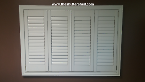 Image is loading NEW-Faux-Wood-Plantation-Shutters-Bermuda-Shutters-Window-