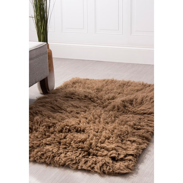 Super Area Rugs Flokati Wool Brown Area Rug | Wayfair