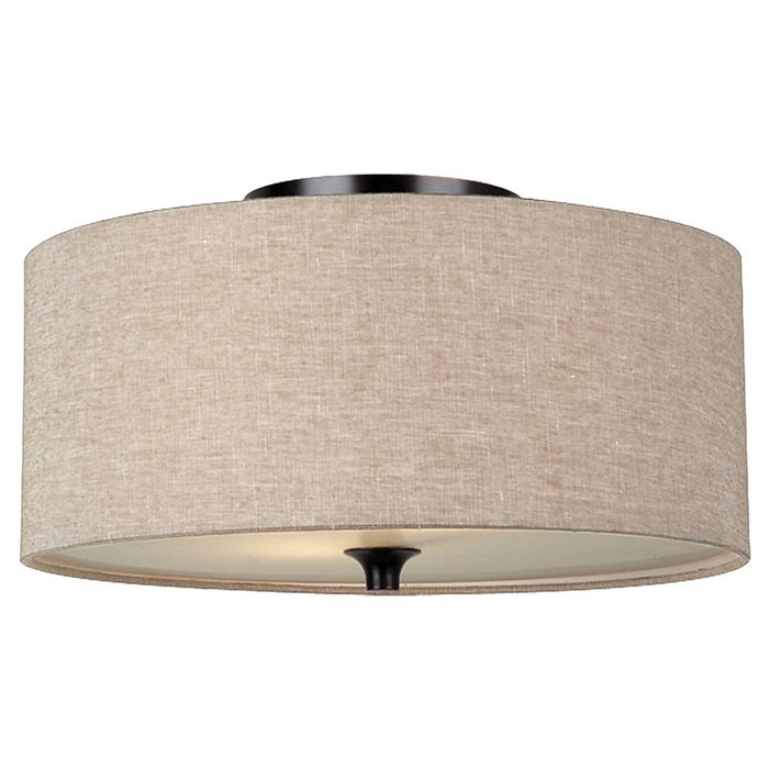 Flush-mount light with fabric shade