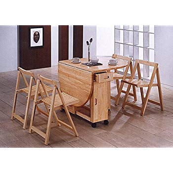 Butterfly Drop Leaf Dining Table and Folding Chairs. Solid Rubberwood.Oak  Lacquer.