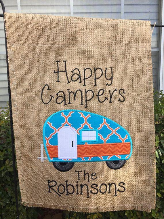 Happy Camper Burlap Garden Flag by SimplySewCustom on Etsy | camper