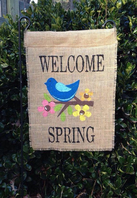Spring Burlap Garden Flag by Sweetleesmonograms on Etsy, $16.00