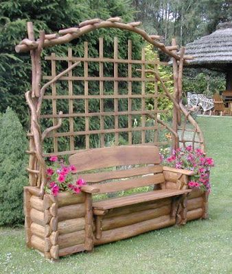Log inspired garden seat with trellis in back. Love it! | ^^Gardens