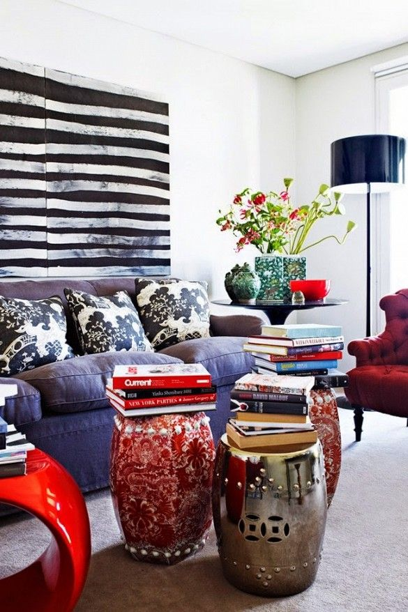 Different uses of modern garden stools as   coffee table