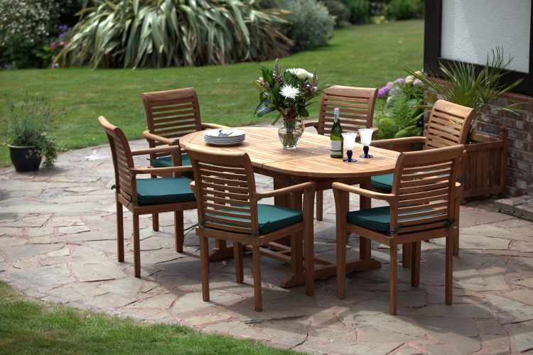 Paris 6 Seater Teak Garden Furniture Set. Stackable Chairs. Table Extends