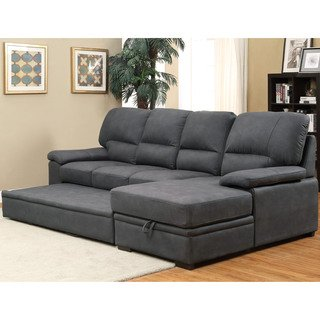 Delton Contemporary Nubuck Leather Sleeper Sectional by FOA