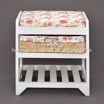 small and decorative hallway furniture wooden shoe changing stool with  storage basket and shoe rack