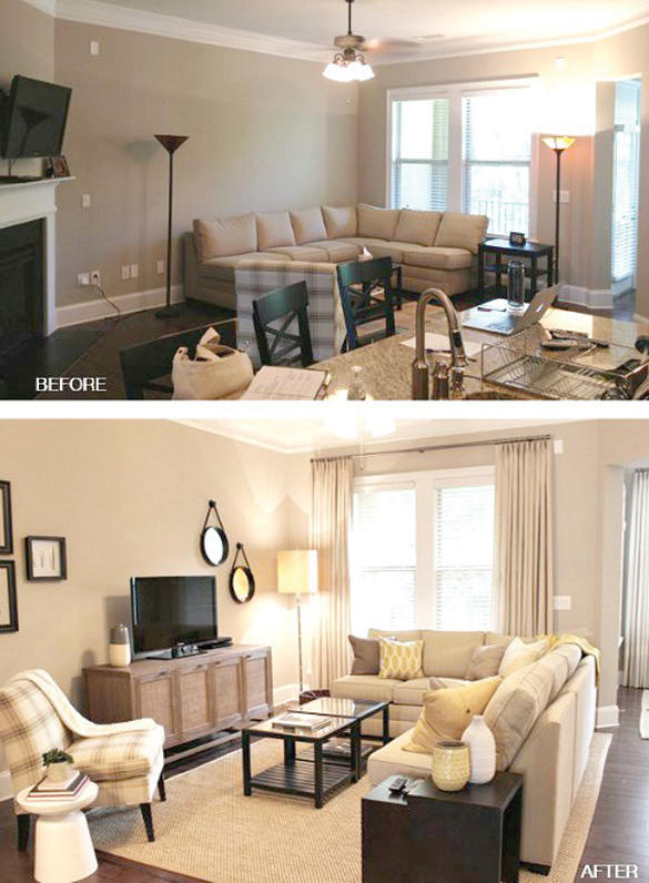 Before and after living room remodel.