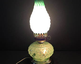 Hurricane Lamp ~ Green ~ Quilted ~ Light Top and Bottom ~ Vintage