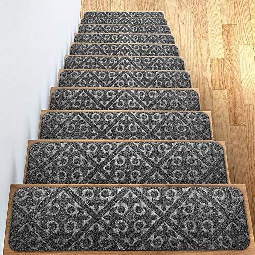 Carpet Stair Treads Set of 13 Non Slip/Skid Rubber Runner Mats or Rug Tread  – Indoor Outdoor Pet Dog Stair Treads Pads – Non-Slip Stairway Carpet Rugs