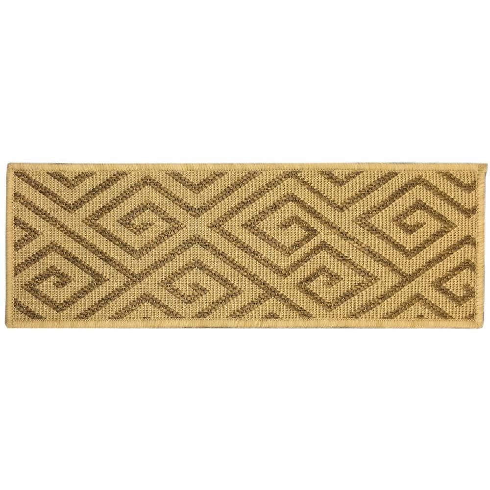 Jardin Collection Geometric Design Beige 9 in. x 26 in. Indoor/Outdoor Carpet  Stair Tread Cover (Set of 7)