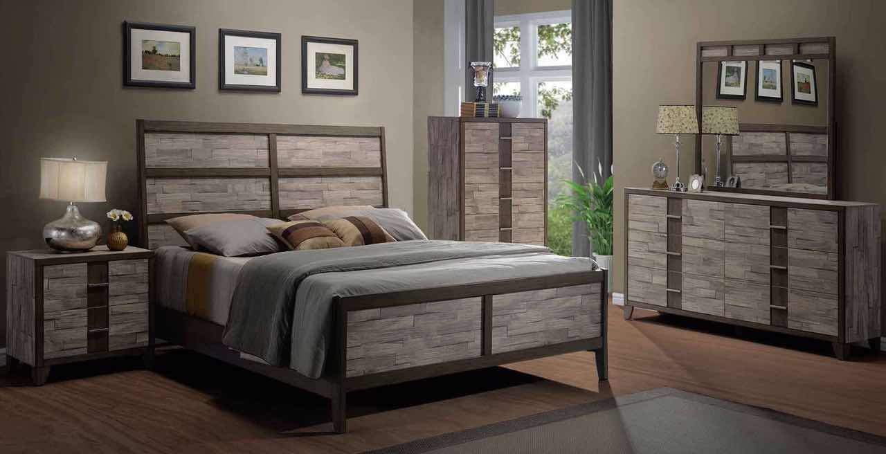 Rodrigues Melamine Sleigh Bedroom Set