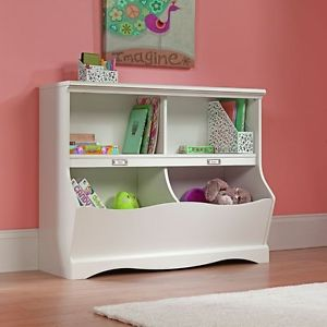 Image is loading Kids-Bedroom-Bookshelf-White-Bookcase-Toy-Box-Cubby-