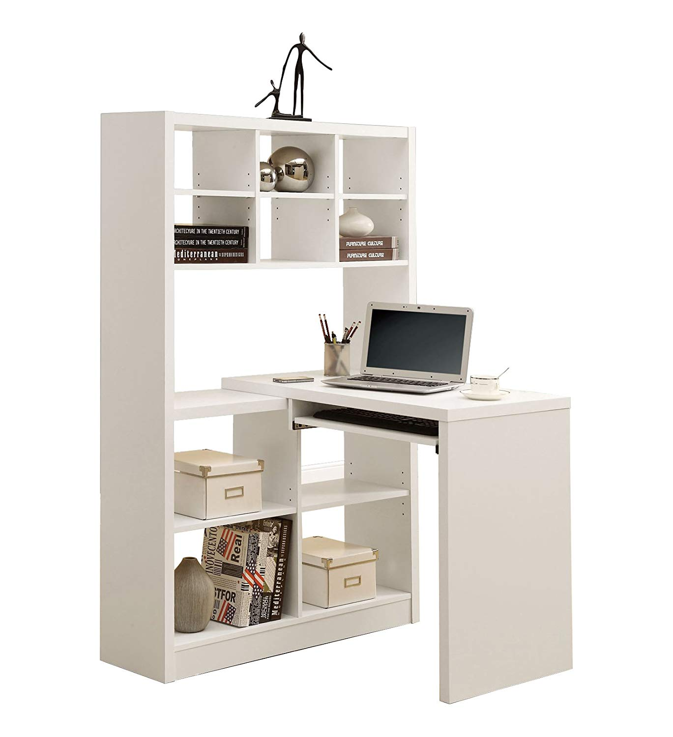 Traveller Location: Monarch Specialties I 7022 Hollow Core Left/Right Facing Desk  and Shelf Combo, White: Kitchen & Dining