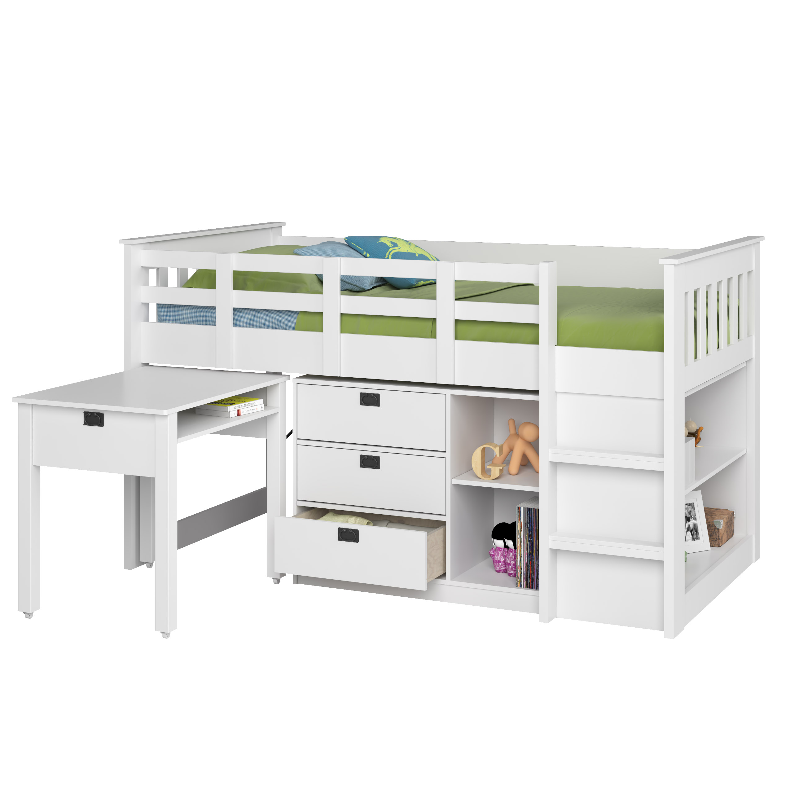 CorLiving Madison Single/Twin Loft Bed with Desk and Storage - White