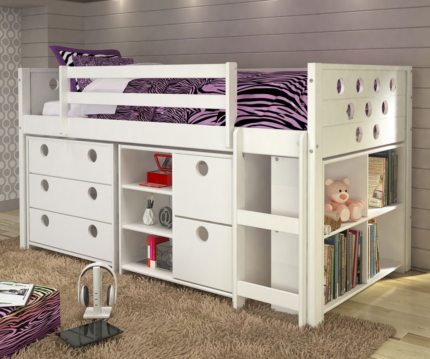 Donco Trading Kids Furniture Circles Low Loft Bed Twin Size in White Finish  780ATWX