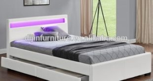 2018 New King Size Led Light Faux Leather Storage Beds With Drawer - Buy Double  Bed With Storage,Leather King Size Bed Black,Full Size Leather Beds Product