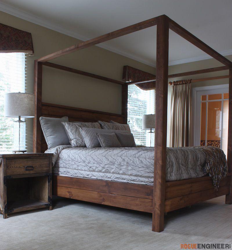 DIY King Size Canopy Bed Plans - Free DIY Plans | Traveller Location  #KingSizeCanopyBed #BedroomDIYplans