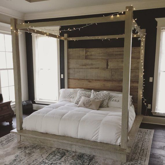 Reclaimed Wood Canopy Bed (white)