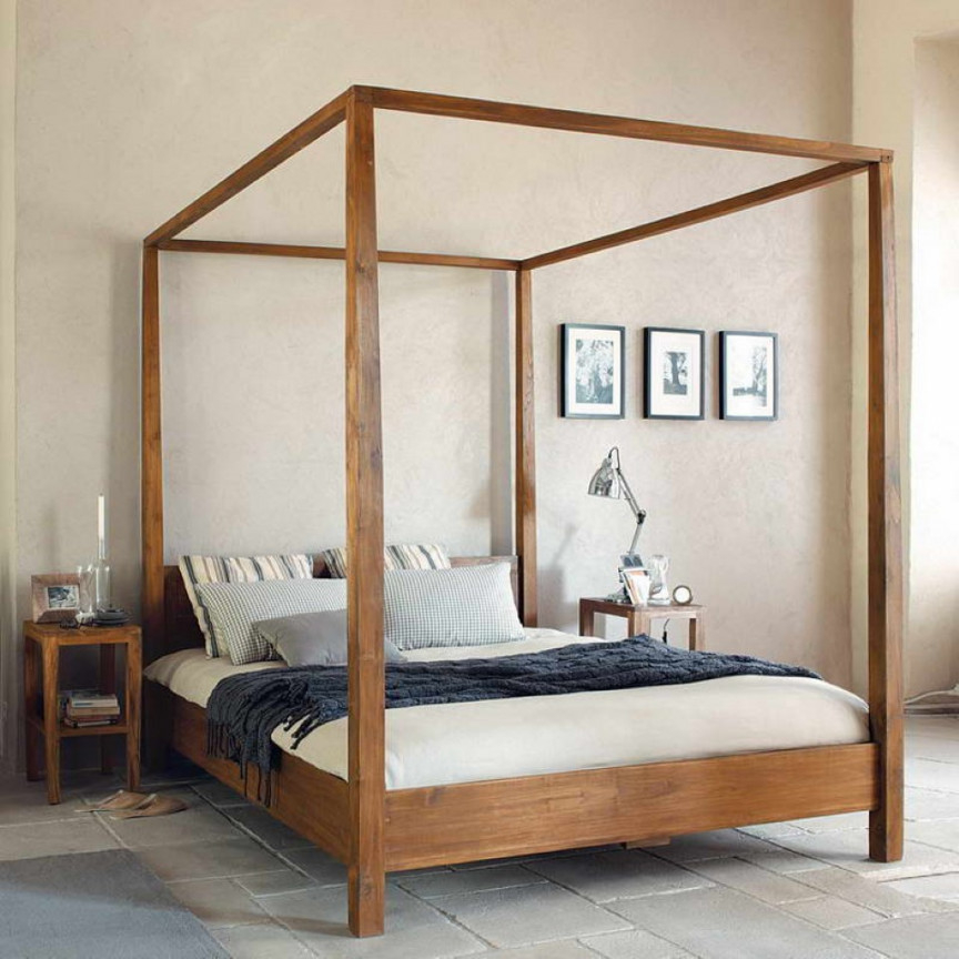 How can a king size wooden canopy bed   frame the look of your room?