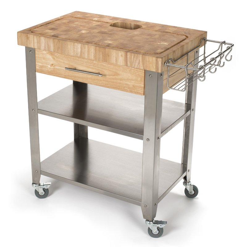 kitchen cart with butcher block top – a   must have in kitchen
