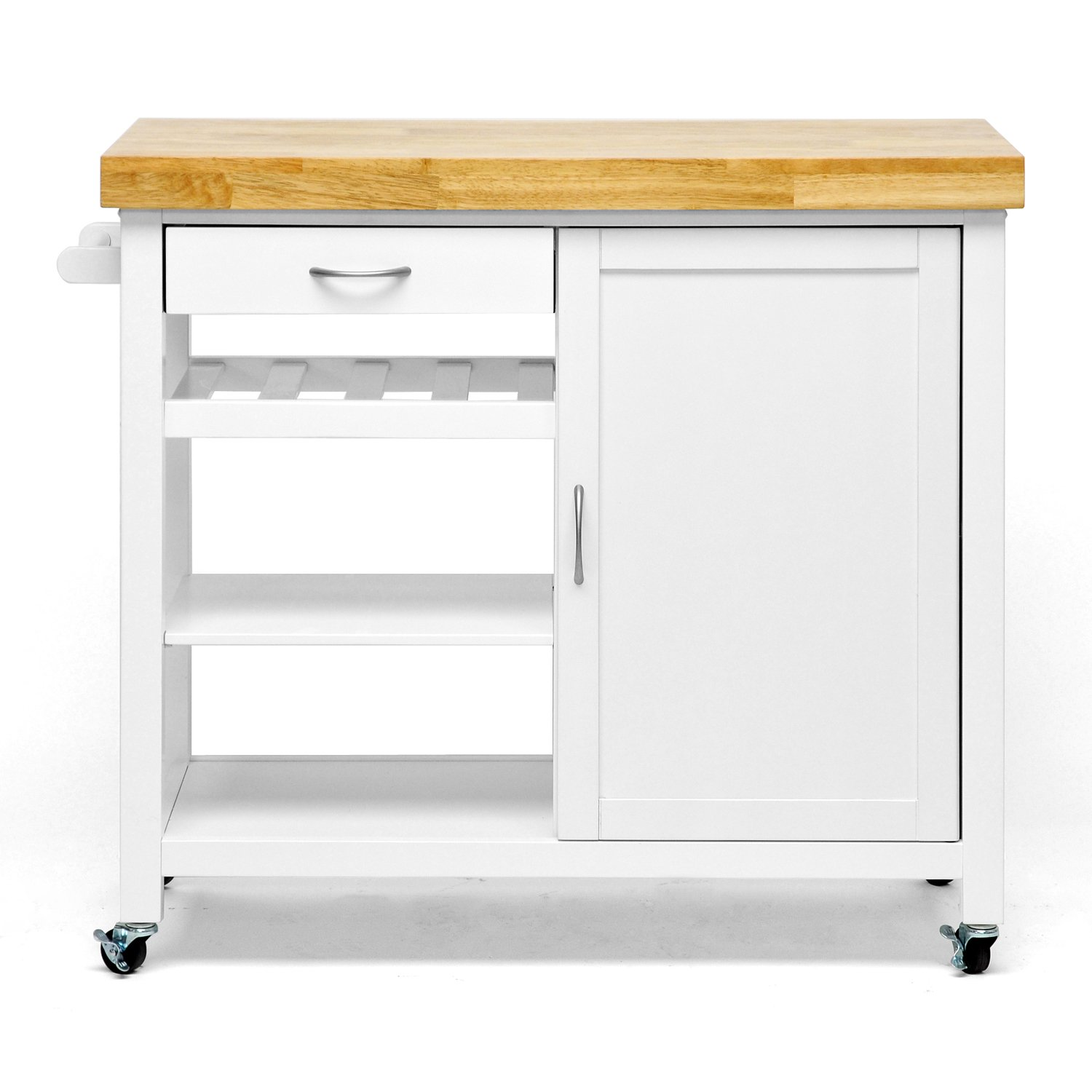 Traveller Location: Baxton Studio Denver Modern Kitchen Cart/Island with Butcher  Block Top, White: Kitchen & Dining