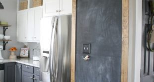 Stained frame around chalkboard wall