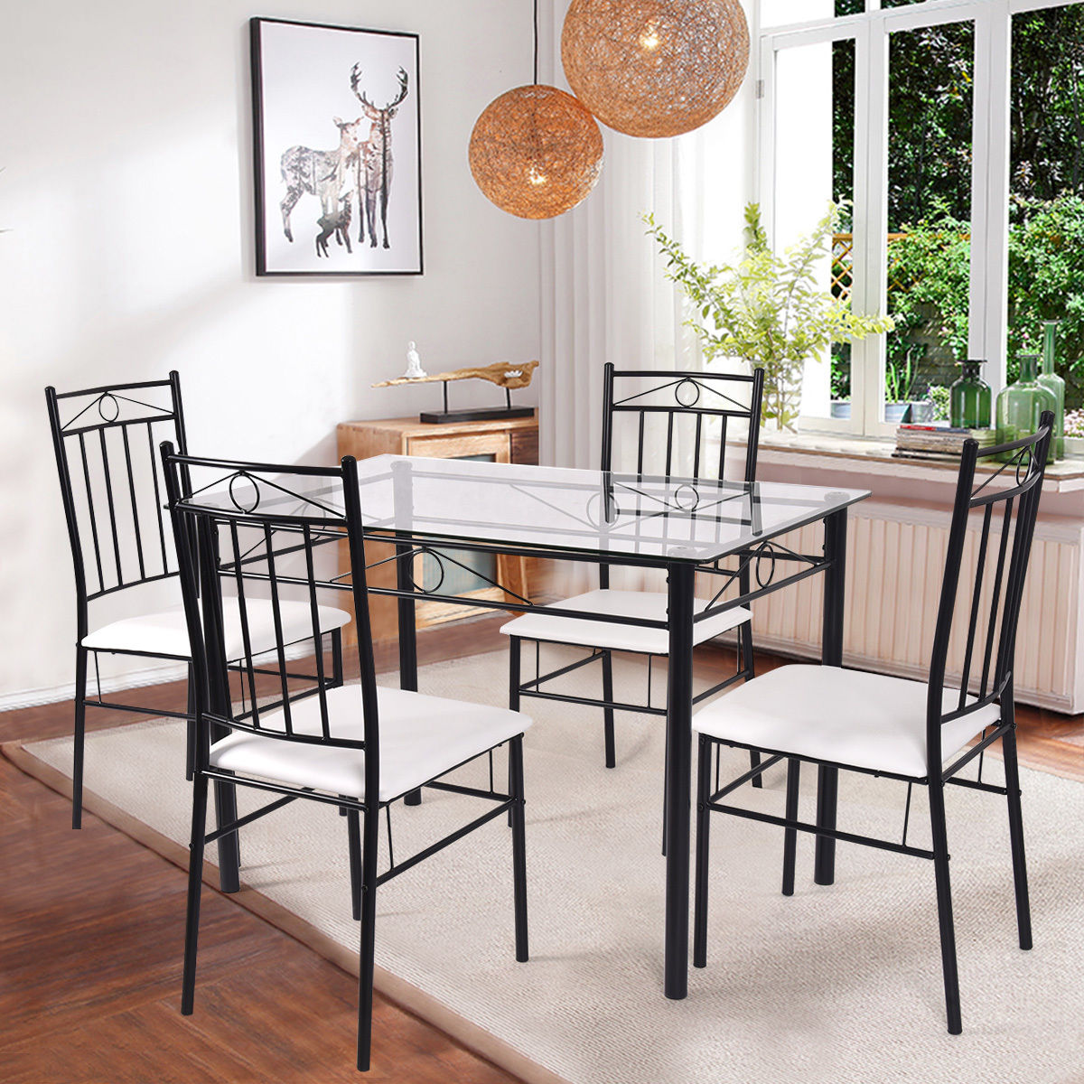 Costway 5 Piece Dining Set Glass Metal Table and 4 Chairs Kitchen Breakfast  Furniture - Traveller Location