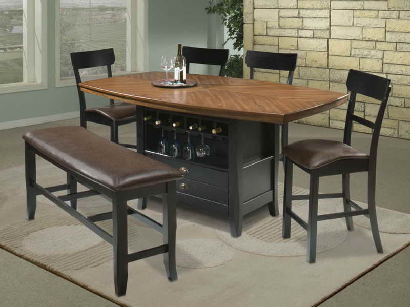 Classic Dining Room with Wine Storage High Top Kitchen Table Sets, Dark  Brown Faux Leather