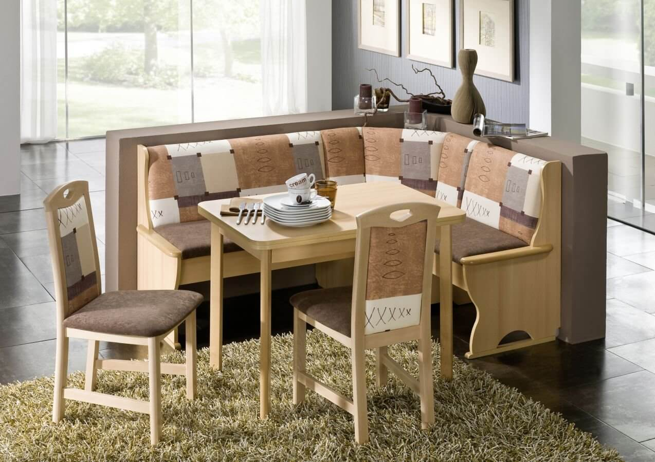 Breakfast Nook Table and Bench. Neutral color pattern with this dining  nook offers a way to enhance the color scheme in
