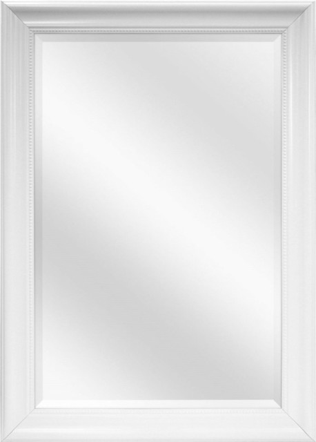 Large Rectangular Bathroom Wall Hanging Mirror With White Frame, 42x30 Inch  - Traditional - Bathroom Mirrors - by Hilton Furnitures