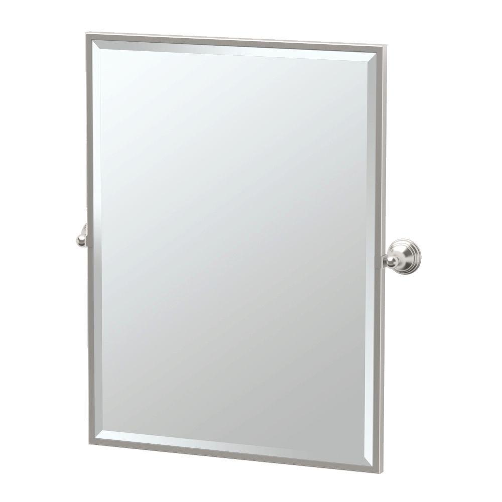 Framed Single Rectangle Mirror in Satin Nickel-4369FS - The Home Depot