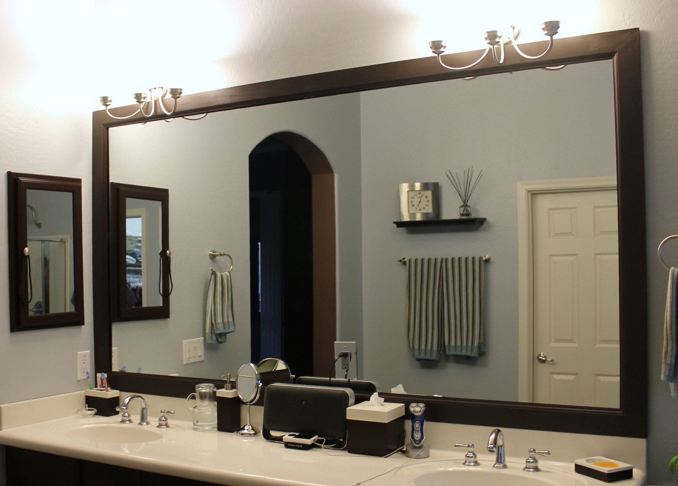bathroom custom silver framed mirrors design inspiration mirror  surround surrounds elegant decor with large shocking rectangular