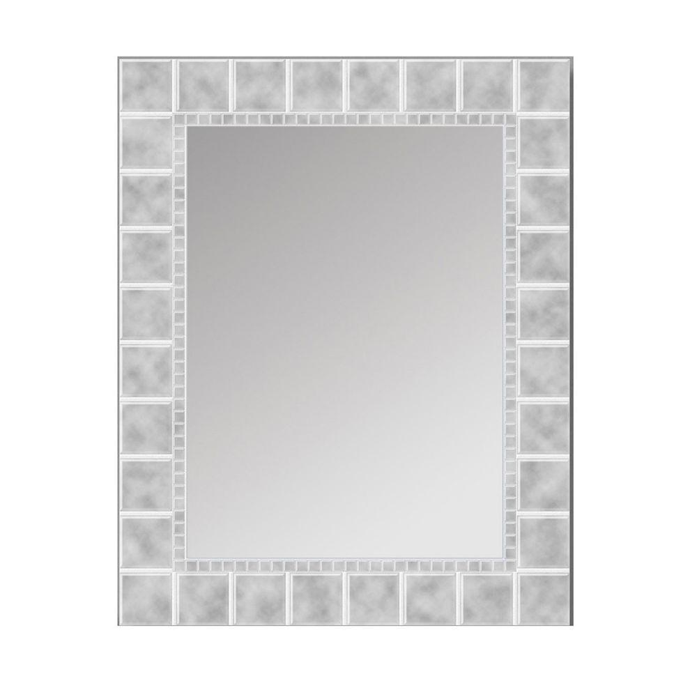 Deco Mirror 36 in. L x 24 in. W Large Glass Block Rectangle Wall