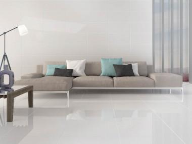 Super White Nano Shiny Polished Porcelain Floor Tile - 600 x 600mm