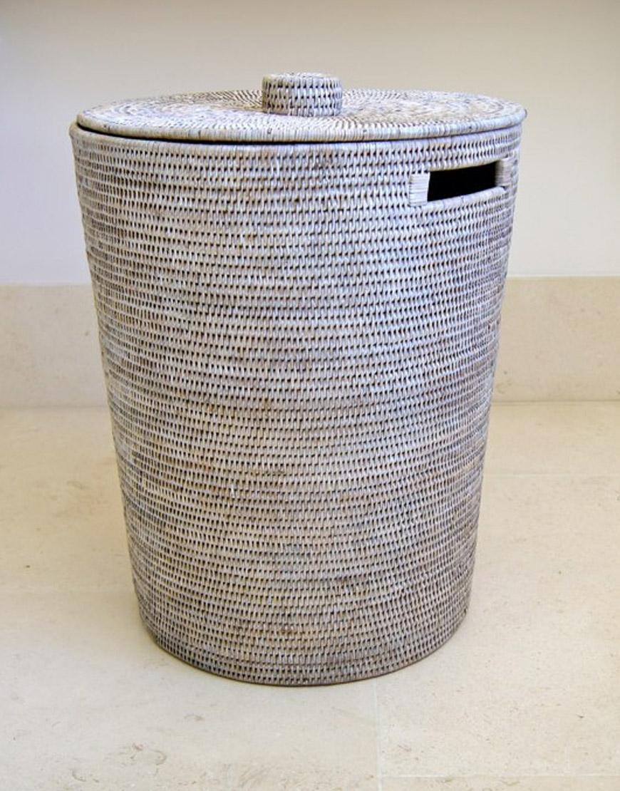 White Washed Laundry Baskets with Lids