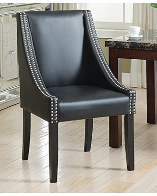 Lincoln Modern Black Leather Silver Nailhead Trim Swoop Arm Dining Chair  (Set Of 2)